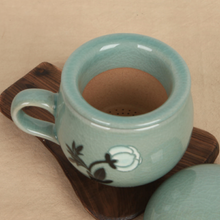 Load image into Gallery viewer, Celadon Peony Tea Cup with Saucer