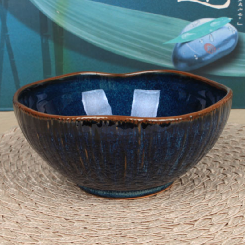 Large Deep Blue Ceramic Bowl