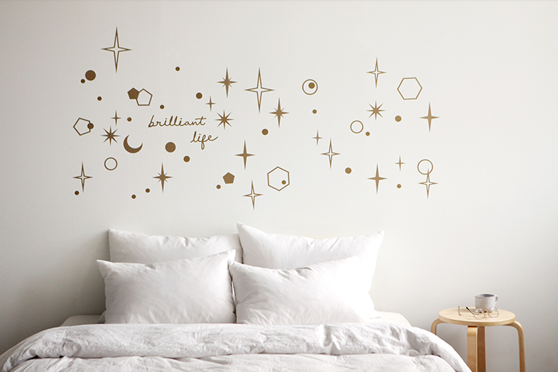 Golden Stars Wall Decal Set