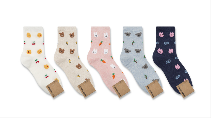 Bunny and Carrot Pattern Socks