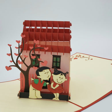 Cute Cartoon Couple - Pop Up Card