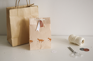 Winter Fox Pattern Paper Bag