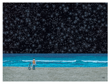Load image into Gallery viewer, Starry Beach in Blue Postcard