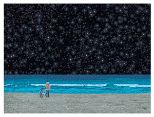 Starry Beach in Blue Postcard