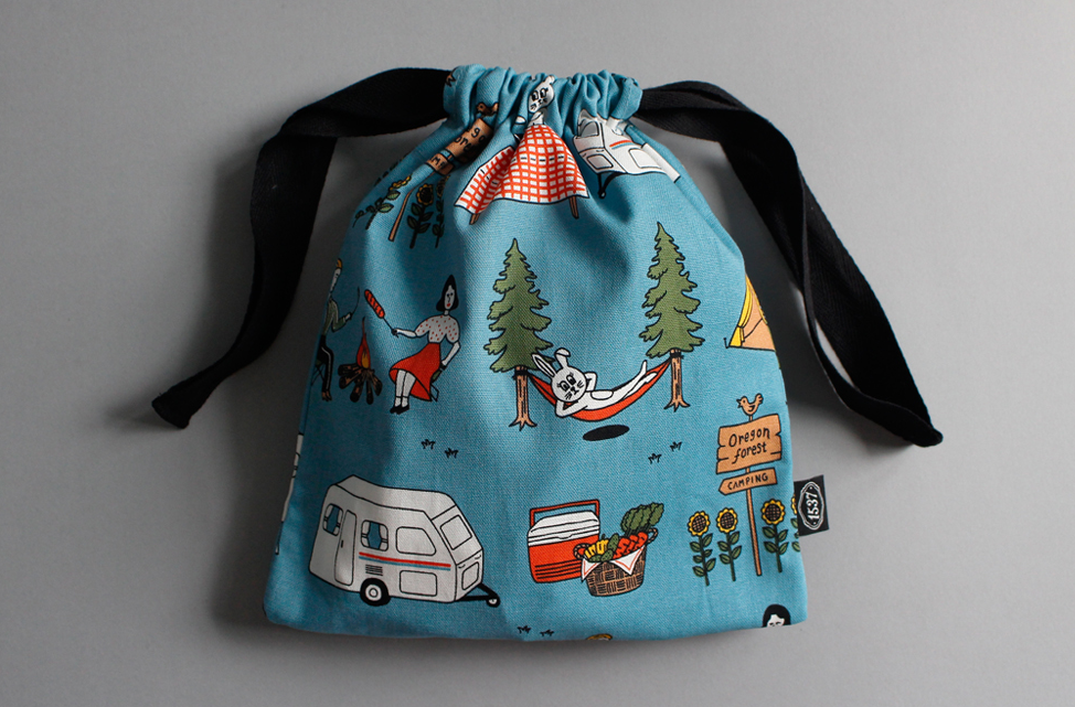 Camper and Rabbit String Pouch - Small