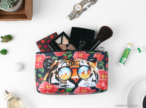 Tiger Over Flowers Triangle Pouch