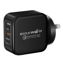 Load image into Gallery viewer, BlitzWolf QC3.0+2.4A 30W Dual USB AU Wall Charger for Apple, Samsung Black