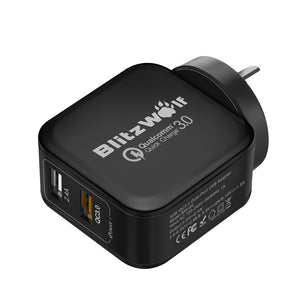BlitzWolf QC3.0+2.4A 30W Dual USB AU Wall Charger for Apple, Samsung Black