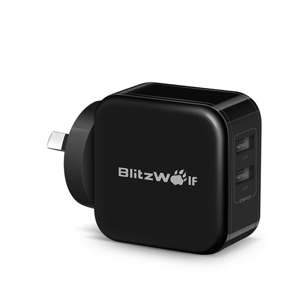 BlitzWolf 4.8A 24W Dual USB AU Wall Charger for Apple, Samsung - Black