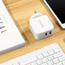 Load image into Gallery viewer, BlitzWolf QC3.0+2.4A 30W Dual USB AU Wall Charger for Apple, Samsung White