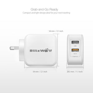 BlitzWolf QC3.0+2.4A 30W Dual USB AU Wall Charger for Apple, Samsung White
