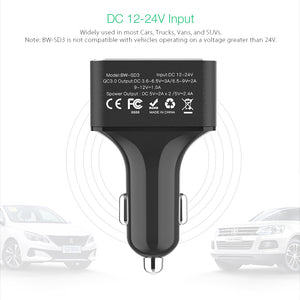 BlitzWolf BW-SD3 50W 4 USB Ports QC3.0 Fast Charging Car Charger iPhone Samsung