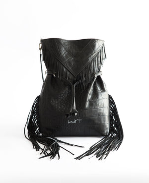 Black Bohemian Fringe Leather Handbag - Lady T