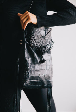 LADY T -  Boho Fringe Black Leather Handbag
