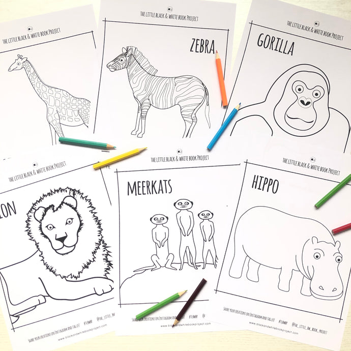 African animals colouring sheets