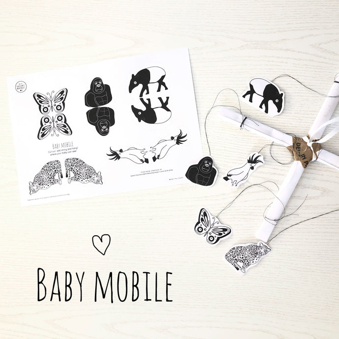 Black and white baby mobile make