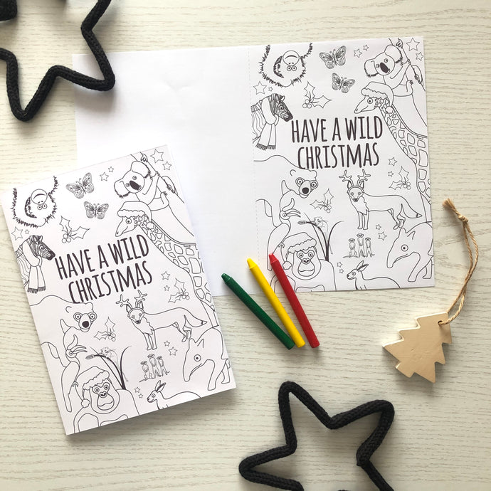 Christmas cheer with our festive card to colour in