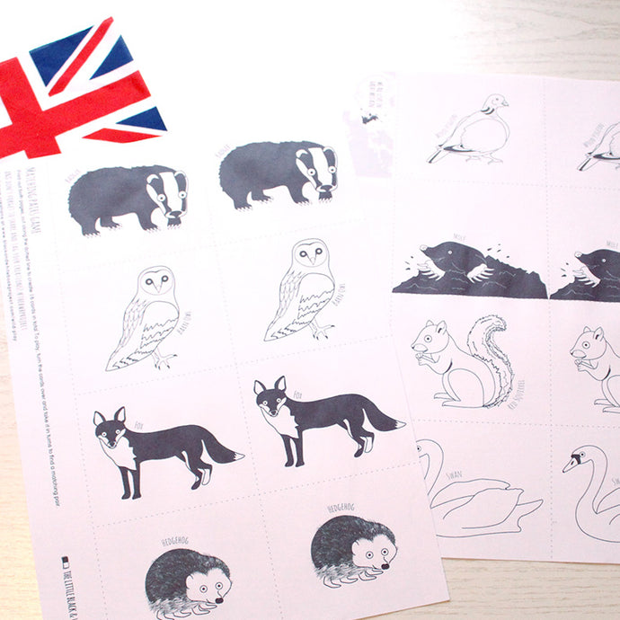 Printable pairs game with British animals