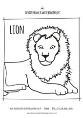 lion illustration to colour in