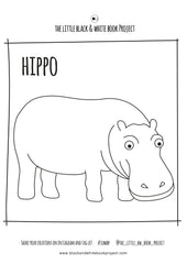 hippo illustration to colour in