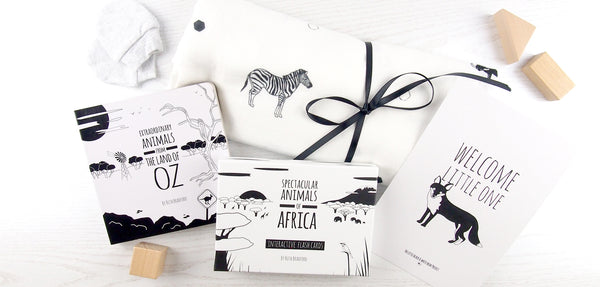 black and white baby gifts collection