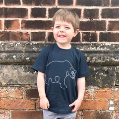 boy in sun bear t-shirt