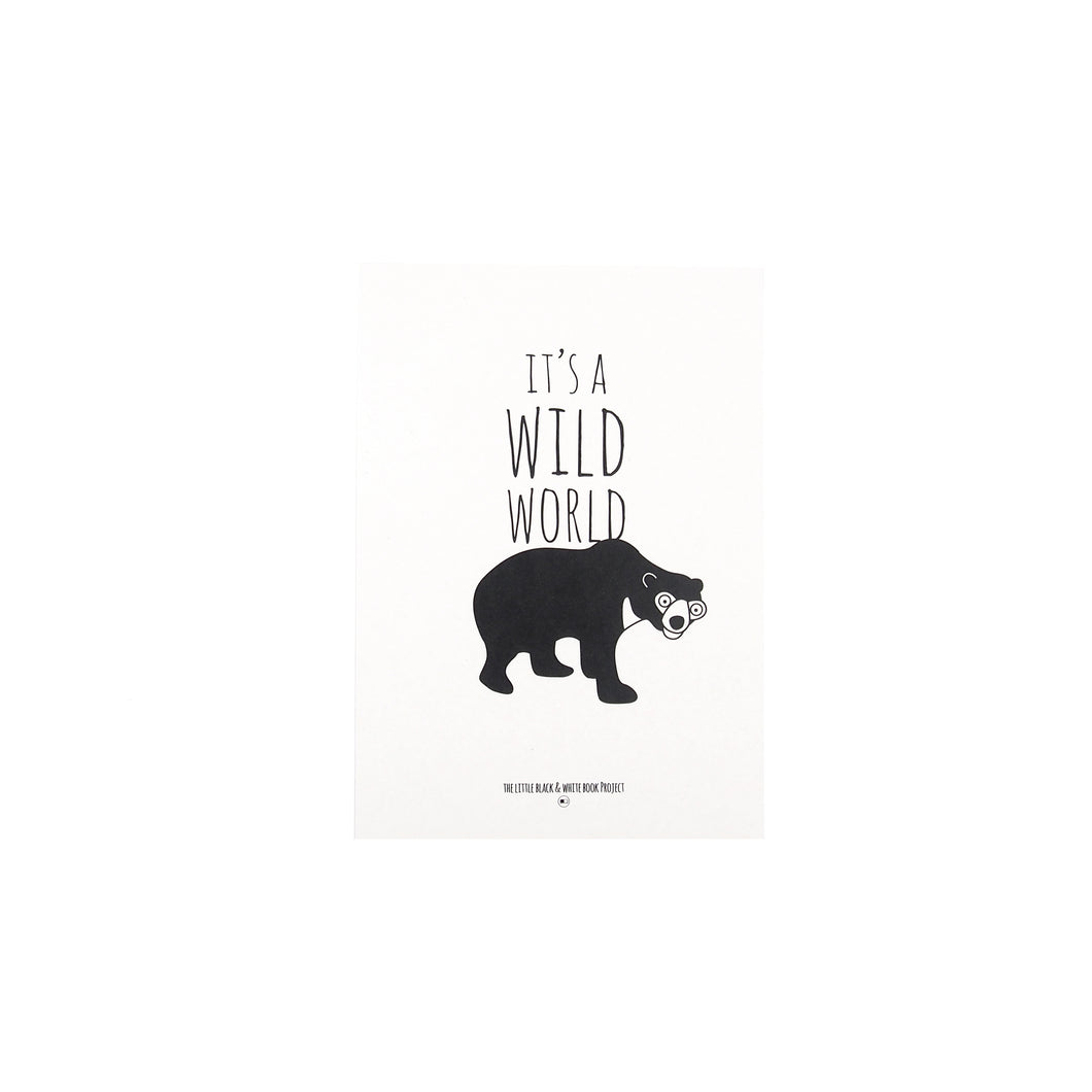 'Its a wild world' sun bear print - The Little Black & White Book Project