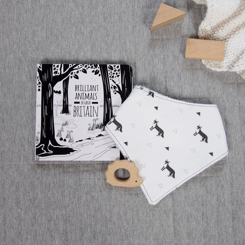 Great Britain book and bib teething set - fox pattern - The Little Black & White Book Project