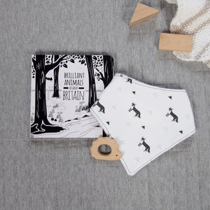 Black and white baby book and bib set - fox pattern - The Little Black & White Book Project