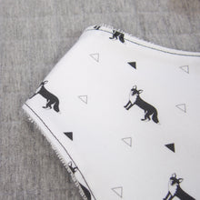 Load image into Gallery viewer, Black and white baby book and bib set - fox pattern - The Little Black & White Book Project