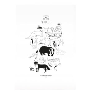 British Animals Print - The Little Black & White Book Project