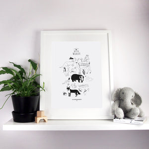 British Animals illustration A3 Print in frame