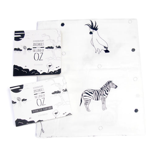 Baby muslin, book and flash card gift set - The Little Black & White Book Project