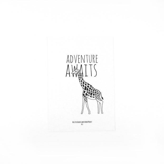 Adventure awaits giraffe illustration A5 print