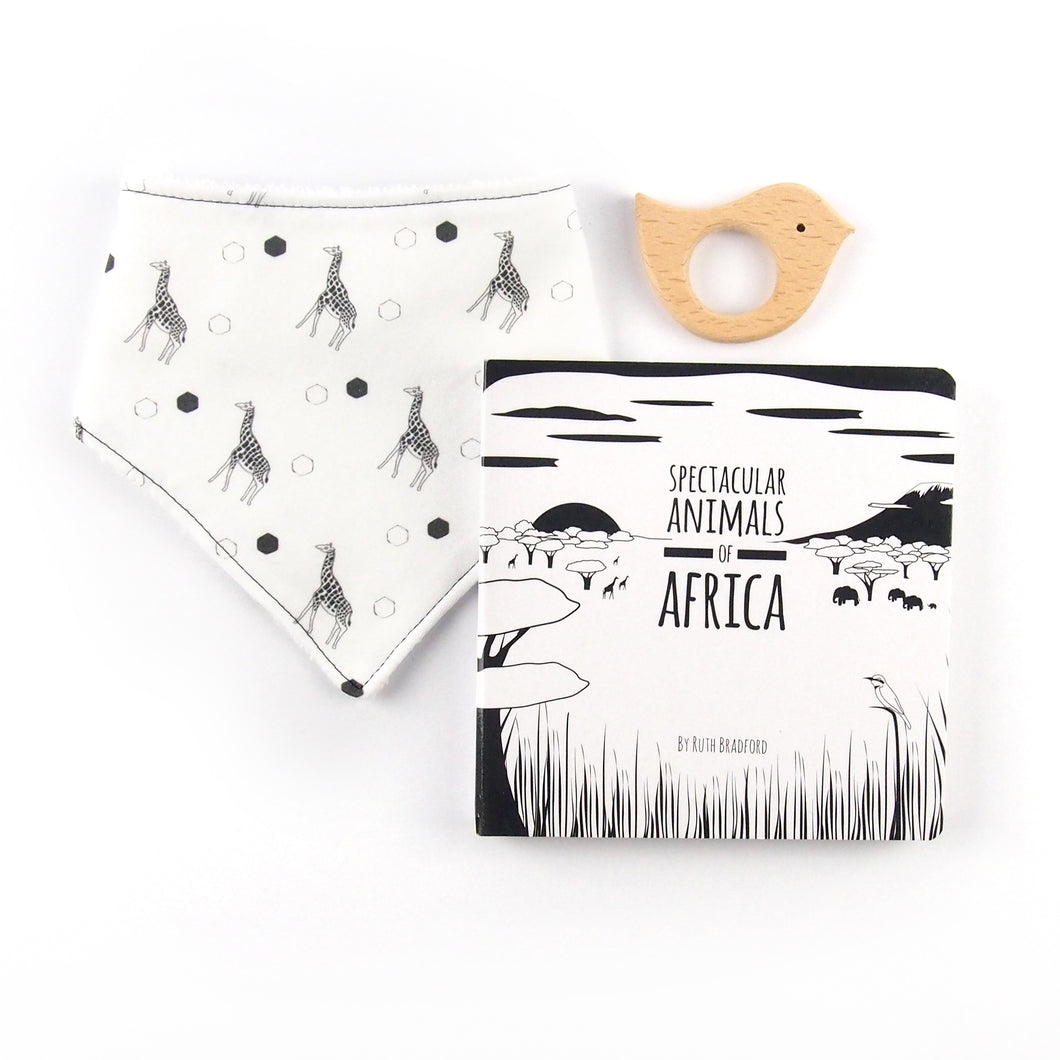 Africa teething set - giraffe pattern - The Little Black & White Book Project
