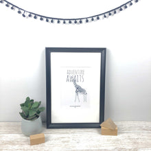 Load image into Gallery viewer, Adventure awaits giraffe illustration A5 print in frame