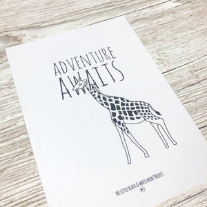 Adventure awaits giraffe illustration A5 print close up