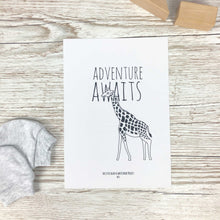 Load image into Gallery viewer, 'Adventure awaits' giraffe print - The Little Black & White Book Project