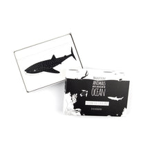 Load image into Gallery viewer, Black and white flash cards Ocean animals
