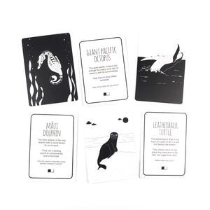 Black and white flash cards Ocean animals
