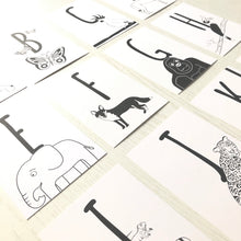 Load image into Gallery viewer, Animal Alphabet Postcards set of 26