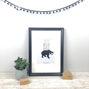 Its a wild world sun bear illustration A5 print frame
