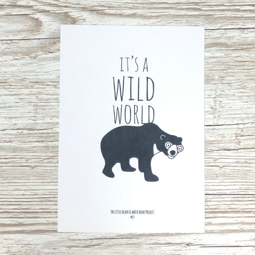 Sunbear 'Its a wild world' A5 mini art print