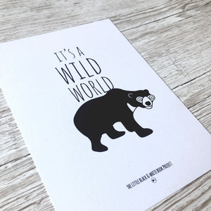 Its a wild world sun bear illustration A5 print close up