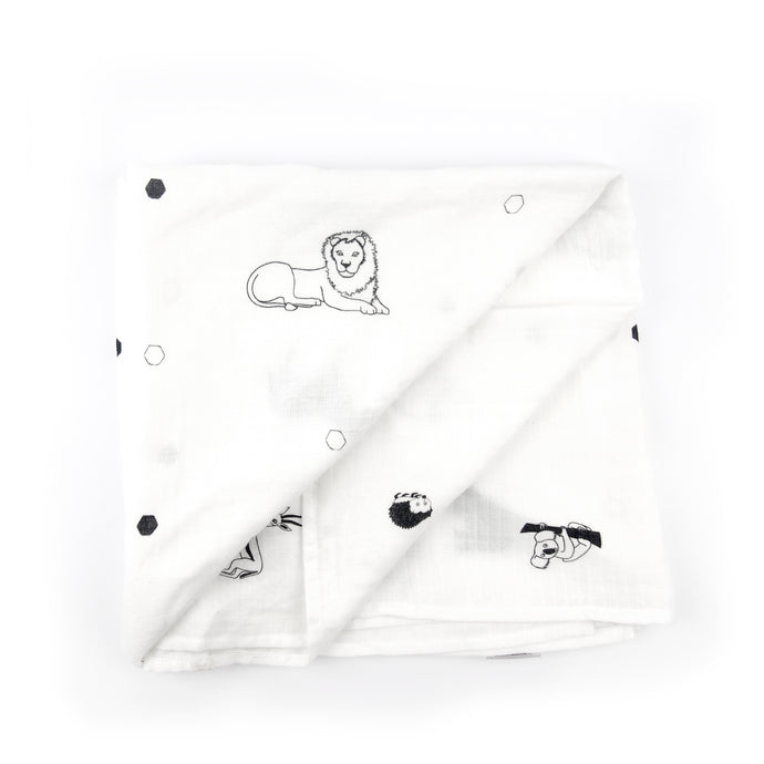 SECONDS - Muslin swaddle blanket - The Little Black & White Book Project
