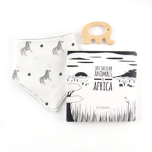 Load image into Gallery viewer, Africa teething set - zebra pattern - The Little Black & White Book Project