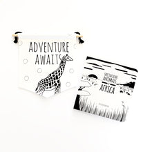 Load image into Gallery viewer, Giraffe flag and book gift set