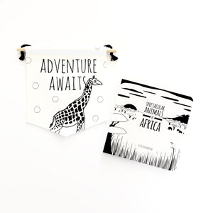 Giraffe flag and book gift set