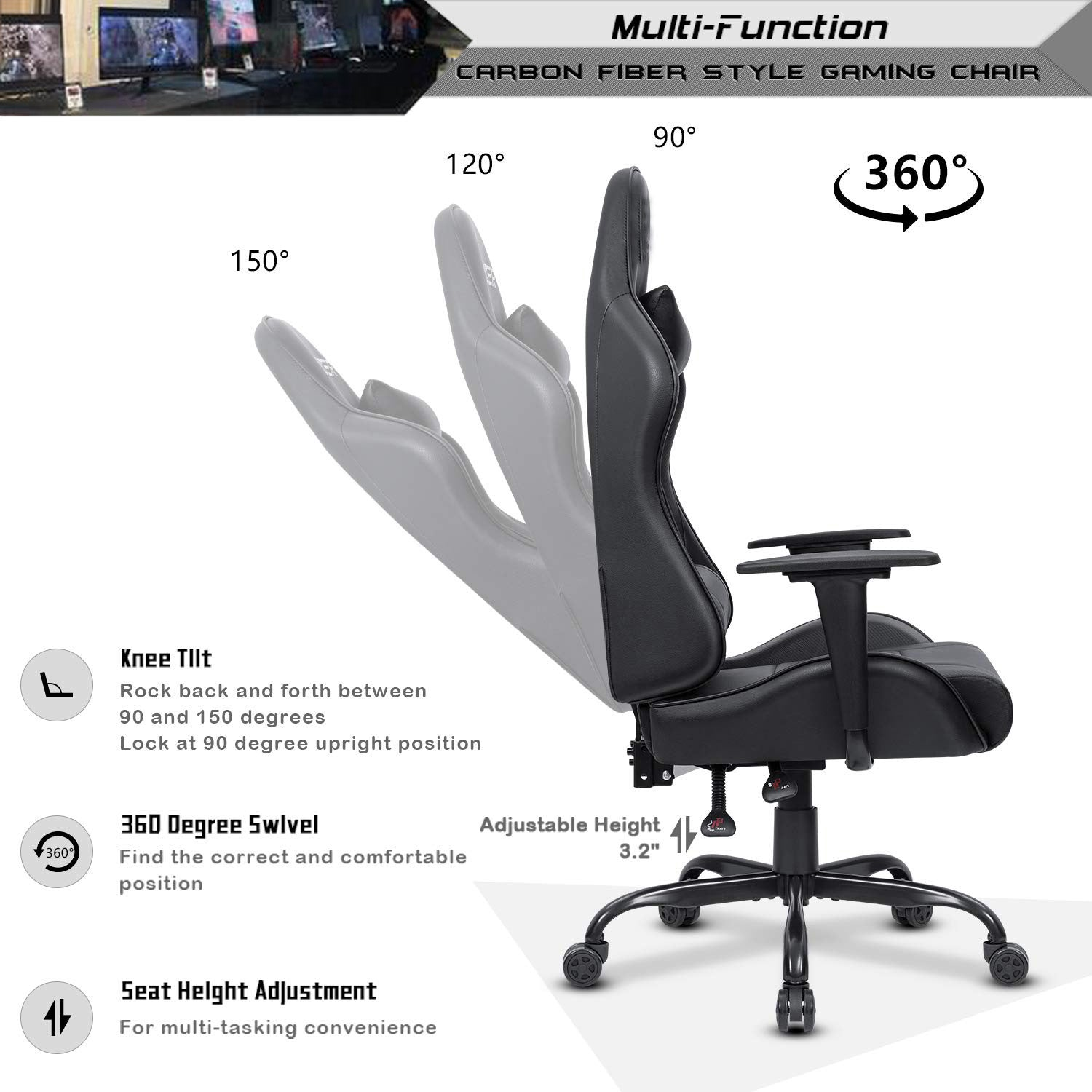 Surprising Ergonomic Gaming Chair Black Caraccident5 Cool Chair Designs And Ideas Caraccident5Info