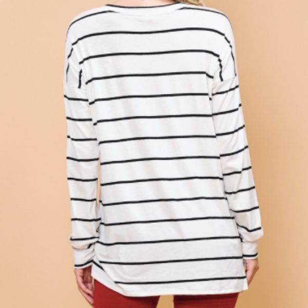 Striped Plain Long-Sleeve Top